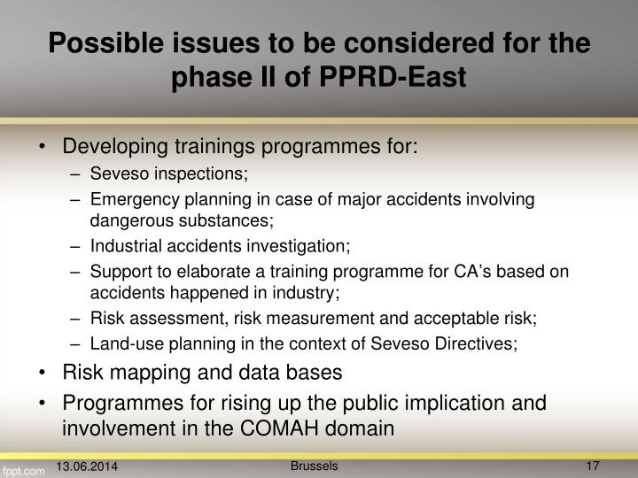 Possible issues to be considered for the phase II of PPRD-East