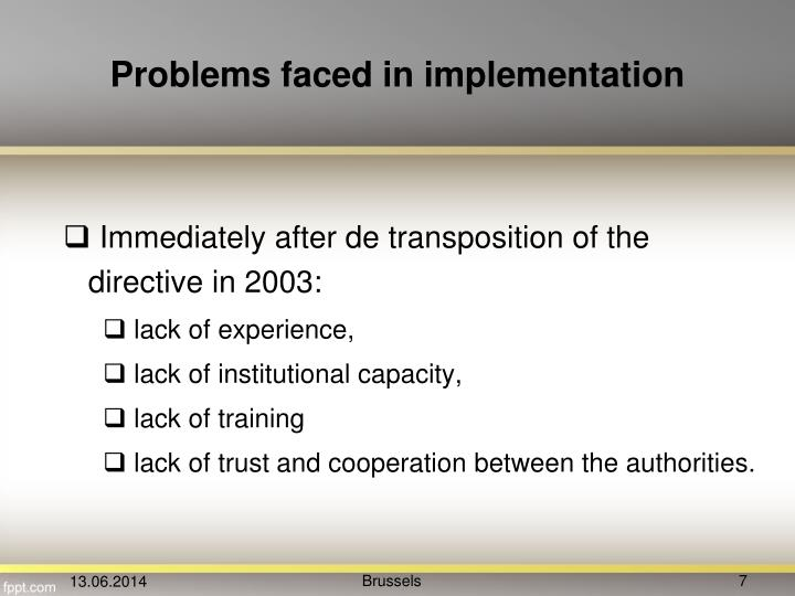 Problems faced in implementation