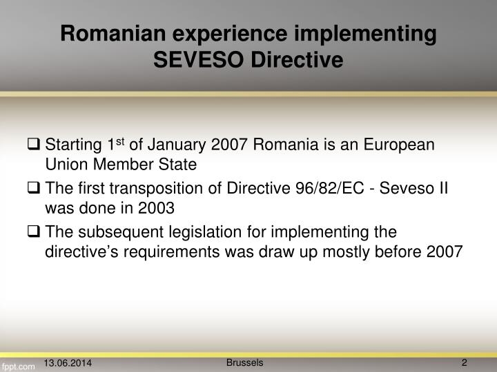Romanian experience implementing SEVESO Directive