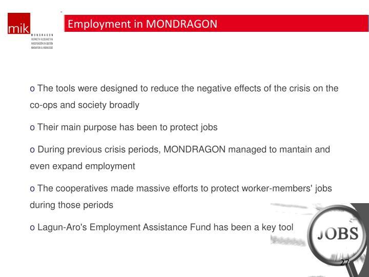 Employment in MONDRAGON