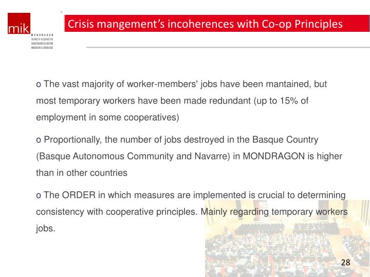 Crisis mangement's incoherences with Co-op Principles