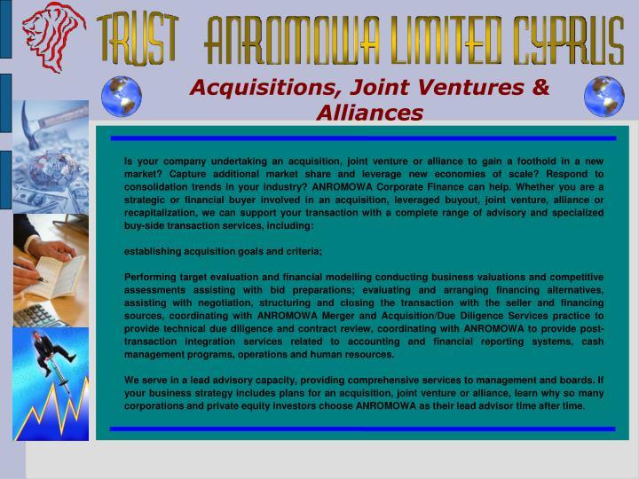 Acquisitions, Joint Ventures & Alliances