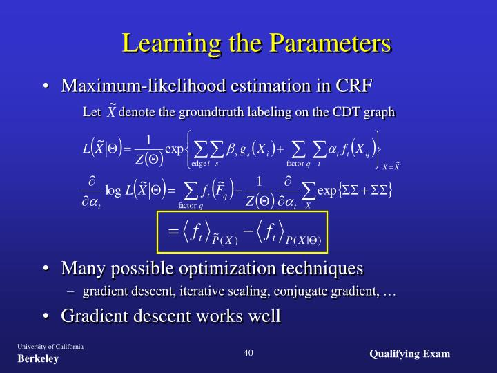 Learning the Parameters