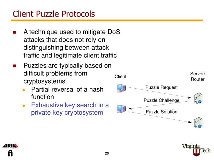 Client Puzzle Protocols
