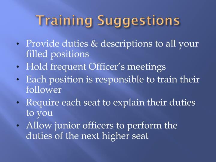 Training Suggestions