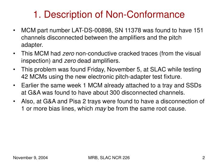 1 description of non conformance