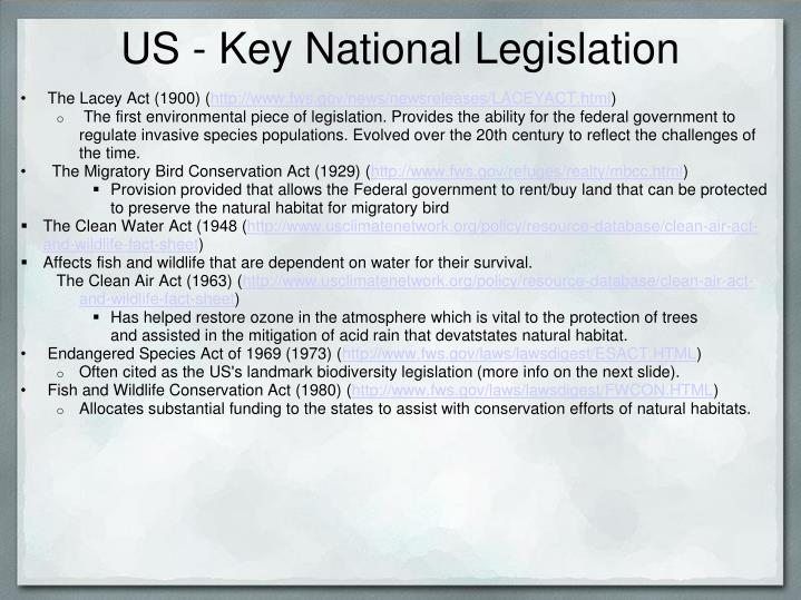 US - KeyNational Legislation
