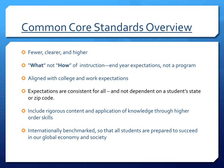 Common Core Standards Overview