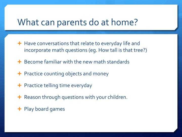 What can parents do at home?