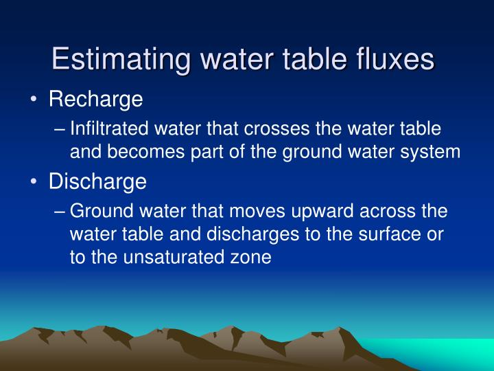 Estimating water table fluxes