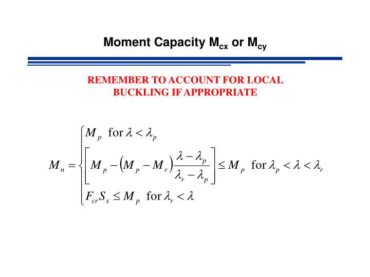 Moment Capacity M