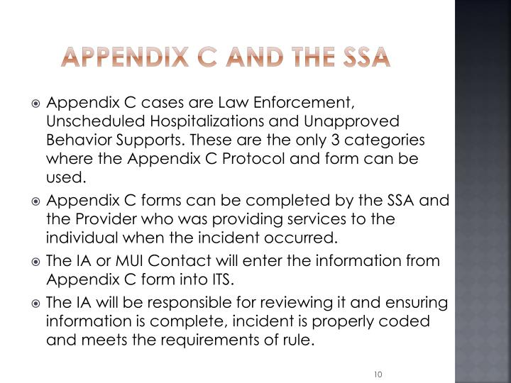 Appendix C and the SSA
