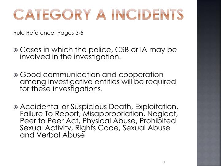 Category A Incidents