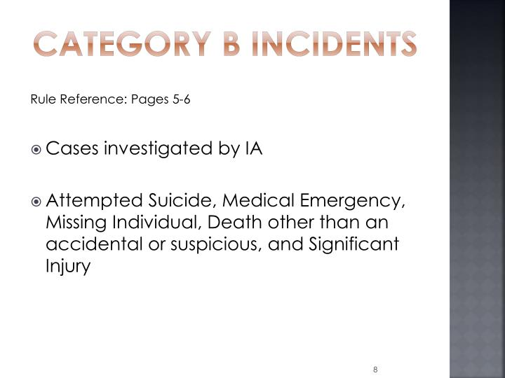 Category B Incidents