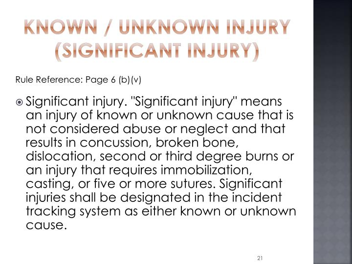 Known / Unknown Injury