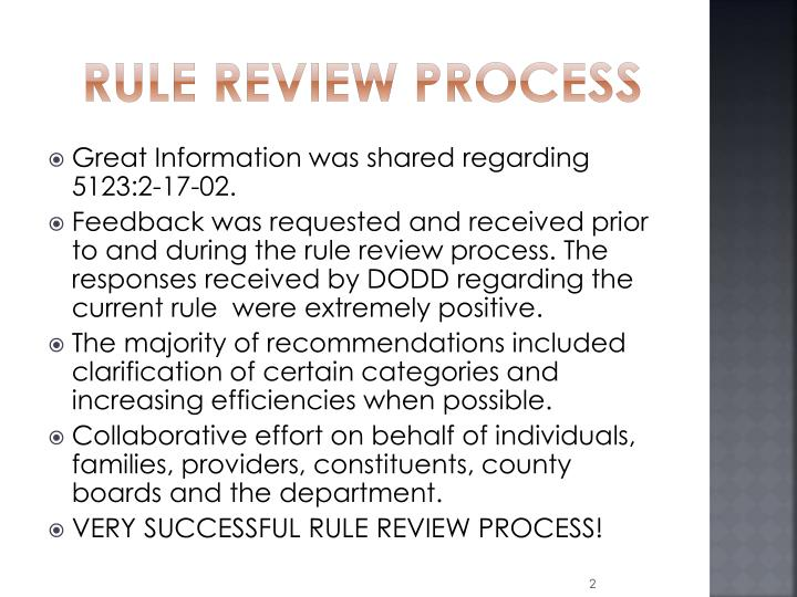 Rule review process