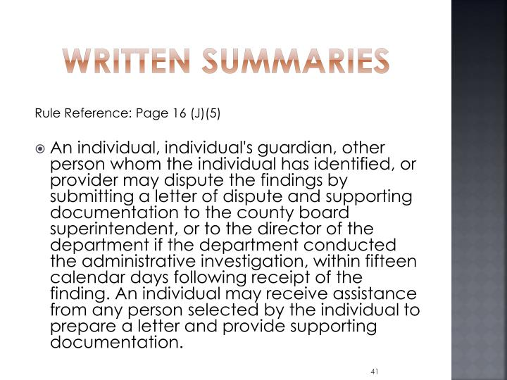 Written Summaries