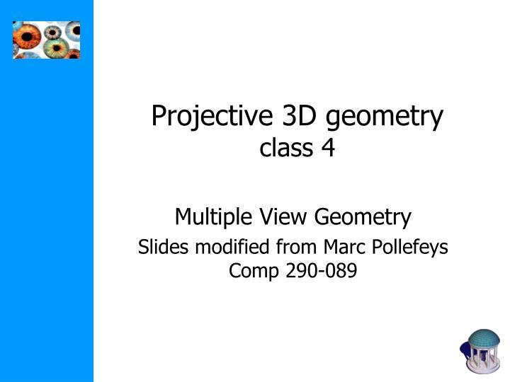Projective 3D geometry