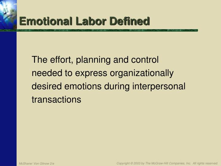Emotional Labor Defined