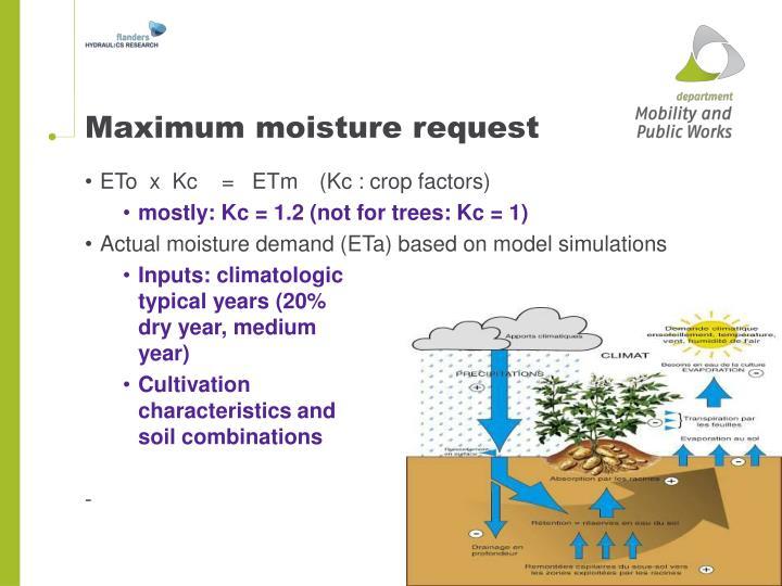 Maximum moisture request