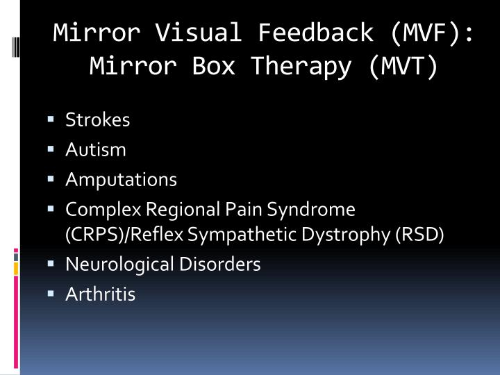 Mirror Visual Feedback (MVF): Mirror Box Therapy (MVT)