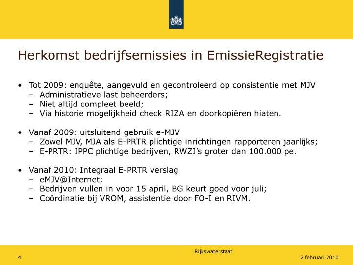 Herkomst bedrijfsemissies in EmissieRegistratie