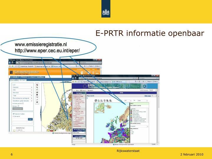 E-PRTR informatie openbaar