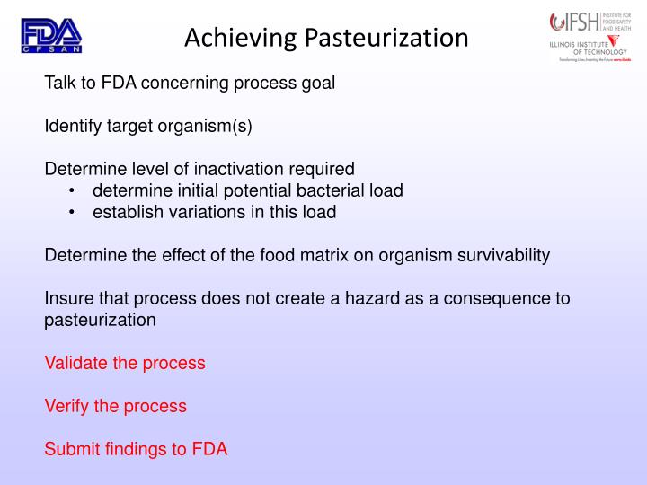 Achieving Pasteurization