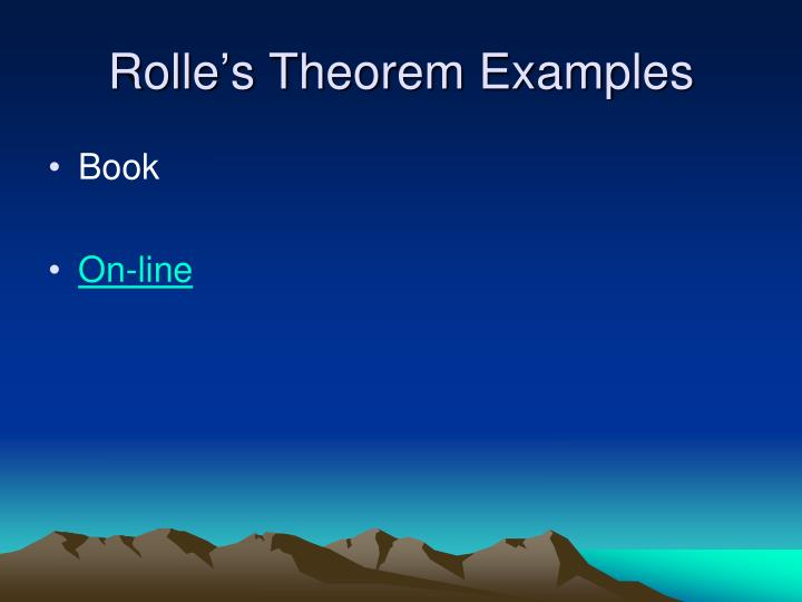 Rolle's Theorem Examples