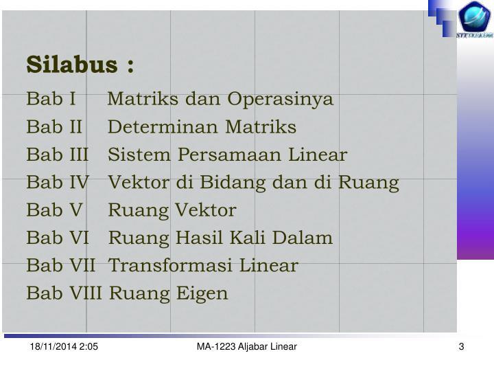 Silabus :