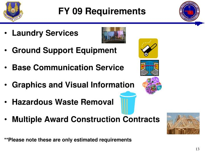 FY 09 Requirements