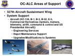 oc alc areas of support