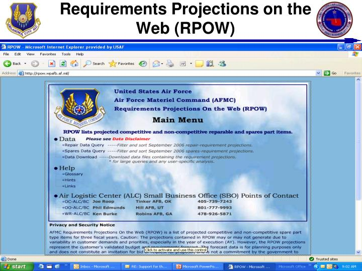 Requirements Projections on the Web (RPOW)