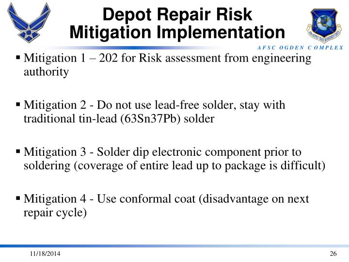 Depot Repair Risk Mitigation Implementation