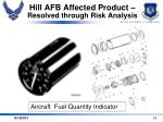 hill afb affected product resolved through risk analysis