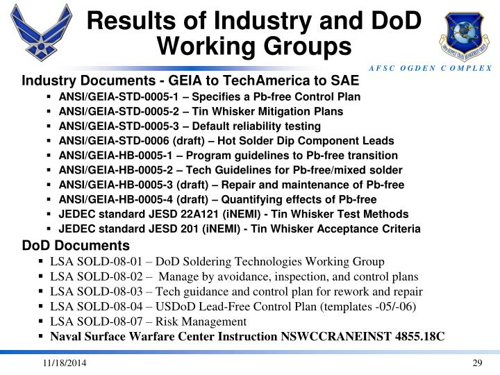 Results of Industry and DoD Working Groups