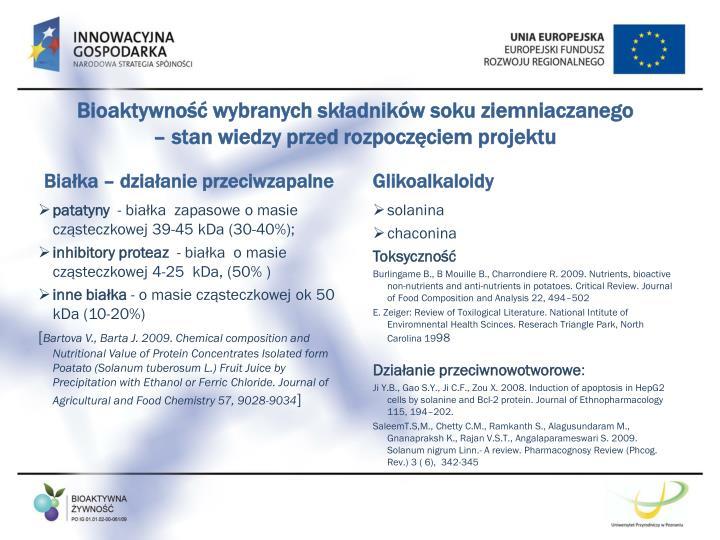 Bioaktywność wybranych składników soku ziemniaczanego