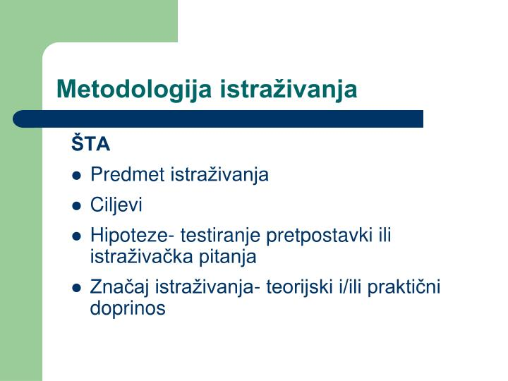 Metodologija istraživanja
