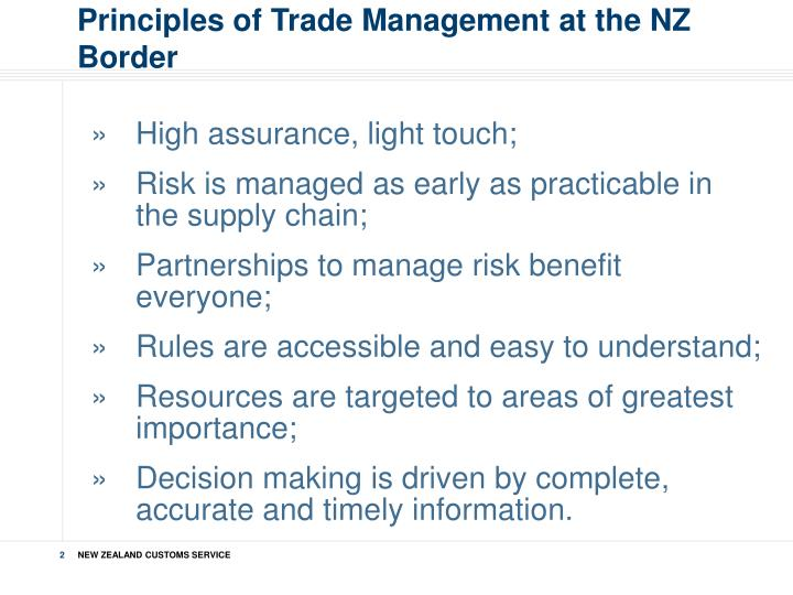 Principles of Trade Management at the NZ Border