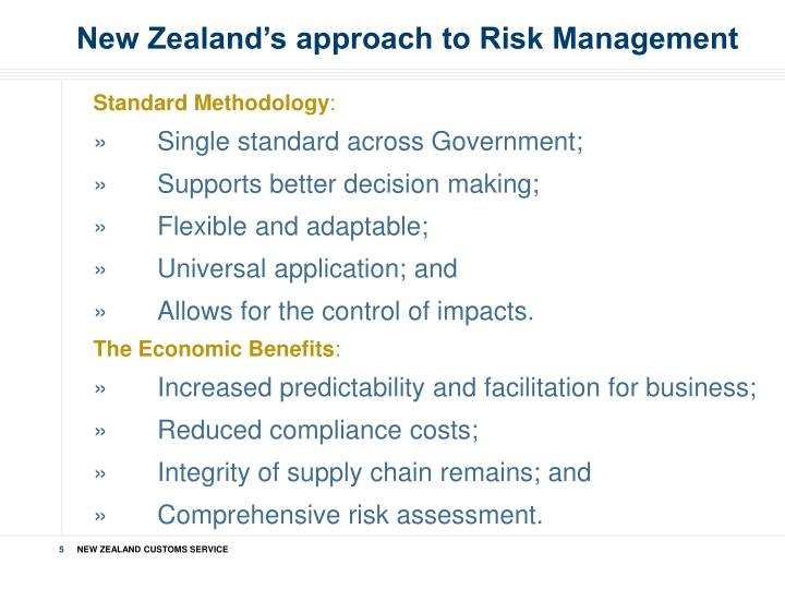New Zealand's approach to Risk Management