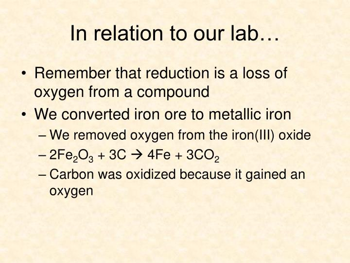 In relation to our lab…