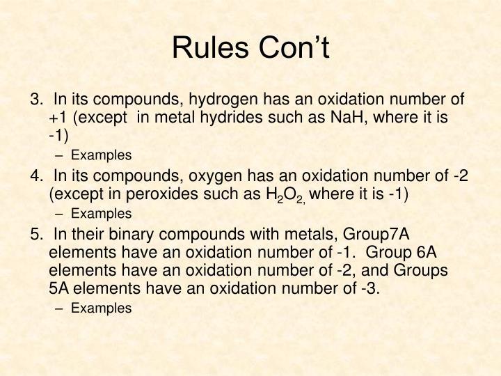 Rules Con't