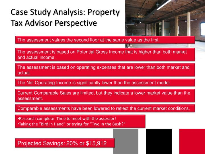 Case Study Analysis: Property Tax Advisor Perspective