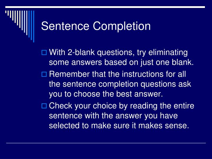 Sentence Completion
