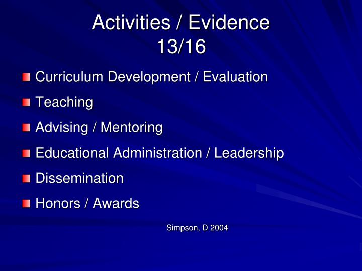 Activities / Evidence