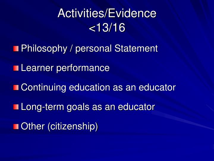 Activities/Evidence