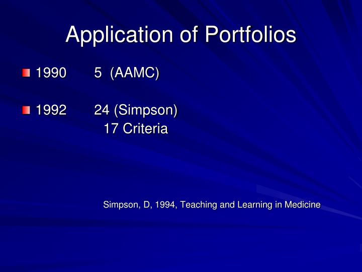 Application of Portfolios