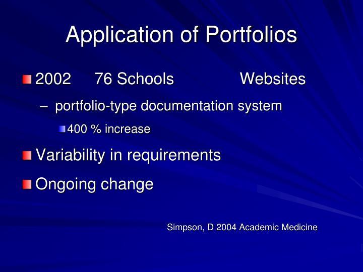 Application of Portfolios