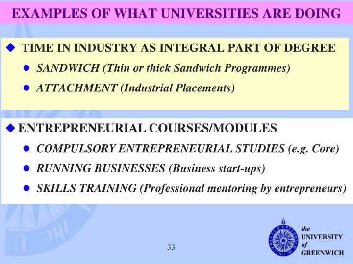 EXAMPLES OF WHAT UNIVERSITIES ARE DOING
