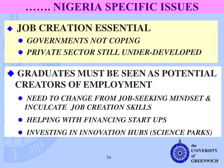……. NIGERIA SPECIFIC ISSUES